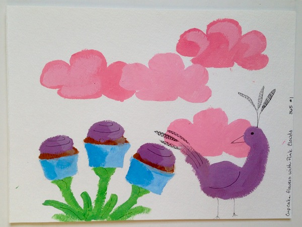 cupcake flowers with pink clouds